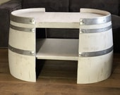 Short coffee table made of wine barrel halves Shabby White