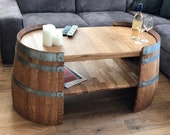 Long coffee table oiled from wine barrel halves