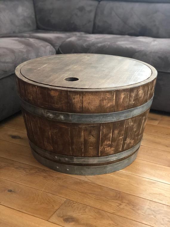 Tonneau De Vin Table Basse Avec Couvercle En Bois Baril Whisky Etsy