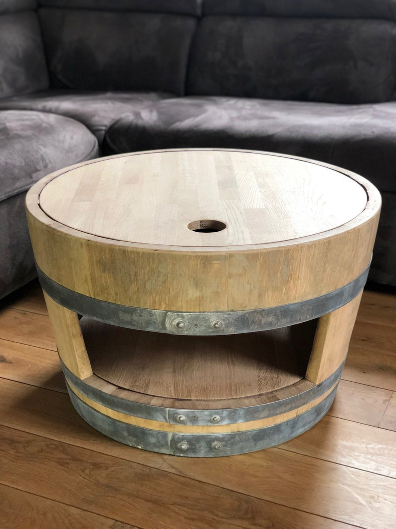 Wine Barrel Coffee Table.Wine Barrel Coffee Table With Wooden Lid And Inlaid Floor Nature