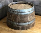 Wine barrel coffee table whisky barrel look - half wine barrel