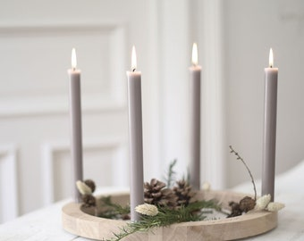 Advent Wreath Wood Round Wooden Wreath - Advent Candle Holder Candle Christmas
