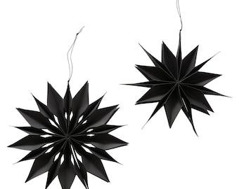 Star Christmas Pendant Set of 2 Black Ø30cm Christmas