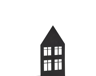 Tealight House Black 14 cm - Candle Holder Christmas Advent
