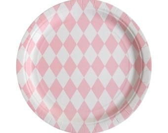 Cardboard plate Diamond 8 Set Pink