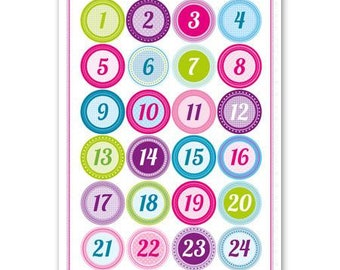 Advent Calendar Numbers Pink 24 pieces