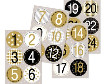 Advent Calendar Numbers Sticker Gold 24 pieces