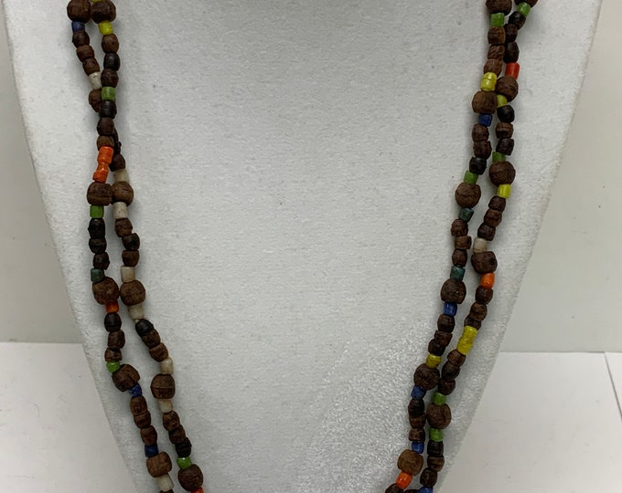 Vintage hand made  hippie glass seed bead and cork necklace 46 inches