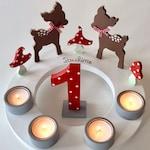 Birthday Candle Wreath/Advent Wreath of Pilzglück, birthday candle, children's birthday, Christmas, roe, number, fly mushroom, birth