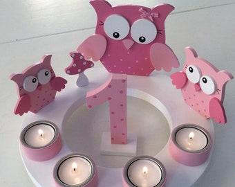 Birthday Candle Wreath/Advent Wreath of Pilzglück, birthday candle, children's birthday, Christmas, owl, number, fly mushroom, birth
