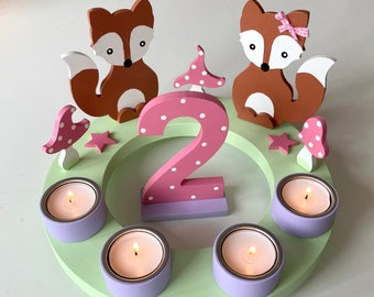 Birthday Candle Wreath of Mushroom Happiness, Birthday Candle, Children's Birthday, Christmas, Owl, Number, Toadstool, Birth