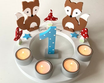 Birthday candle wreath of mushroom happiness, birthday candle, children's birthday party, Christmas, owl, number, toadstool, birth