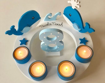 Birthday Wreath of Mushroom Happiness, Whale, Whale, Children's Birthday, Birthday Candle, Children's Birthday, Number, Toadstool, Birth