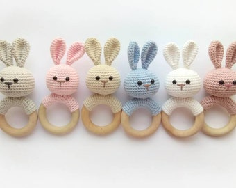 Bunny Rabbit rattle Crochet Baby gift Natural nursery toys Newborn toy baby  shower gift Organic eco animal decor rattle Baby teething toy 8a6728144b