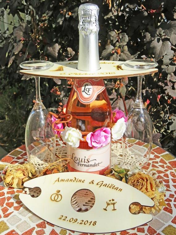 Hochzeitsgeschenk Gläserhalter Aufsatz Für Sekt Und Weinflaschen Mit Lasergravur