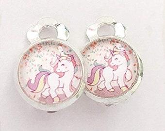 Girl Clip Earrings unicorn pink Rainbow Confetti Pink clip on earring