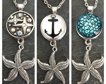 Necklace with Starfish pendant and 3 x Changing Cabochon snap button 18 mm stainless steel anchor