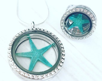 Jewelry set starfish turquoise silver