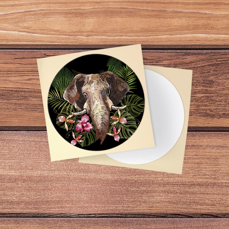 Decal elephant Skin for pop socket Sticker animal Tropical skin Fits Pop socket sticker Phone decor Round decal Tablet Grip Stand For Popcup