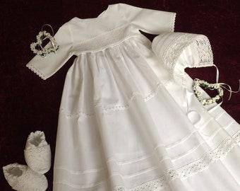Taufkleid, Vintage Stil, Baby, Mädchen-Junge, Baumwoll-Leinen, 3-teilig,  lieferbar ab Größe 50-92, Kleiderlänge und Schleifenfarbe wählbar 2779259e13