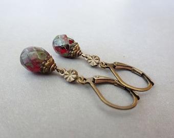 Earrings vintage romantic nostalgic retro bronze brass antique antique brass romantic vintage style earrings EMILJA