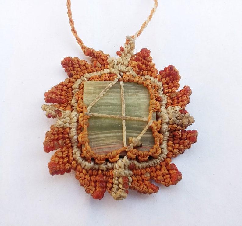 Necklaces Macrium-Macrame-Jade-agate-handmade-knotted necklace-Amulet