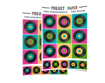 Vinyl Records Sticker Sheet 5 *Recycled Paper*