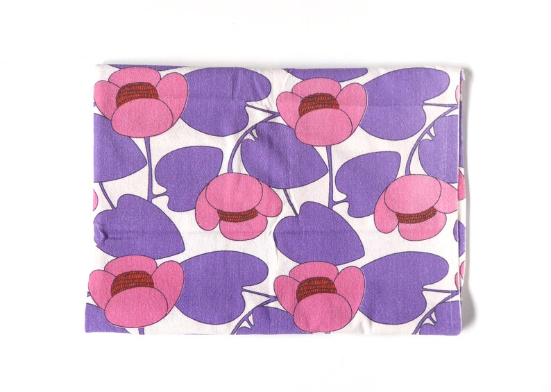 70s terry curtain Gardine water lily Pink Purple