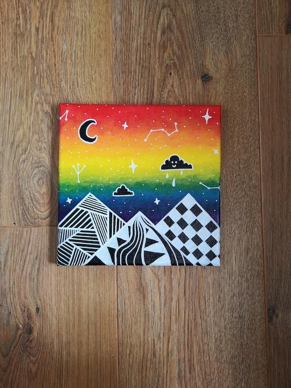 Trippy Rainbow Sky Acrylic Painting On 20x20cm Canvas Etsy