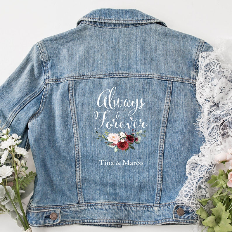 personalized denim jacket Always /& Forever with flower wreath for bride wedding JGA in XS-XXL as a gift bridal accessories