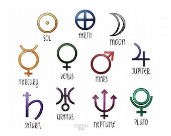 Planet symbols | Etsy