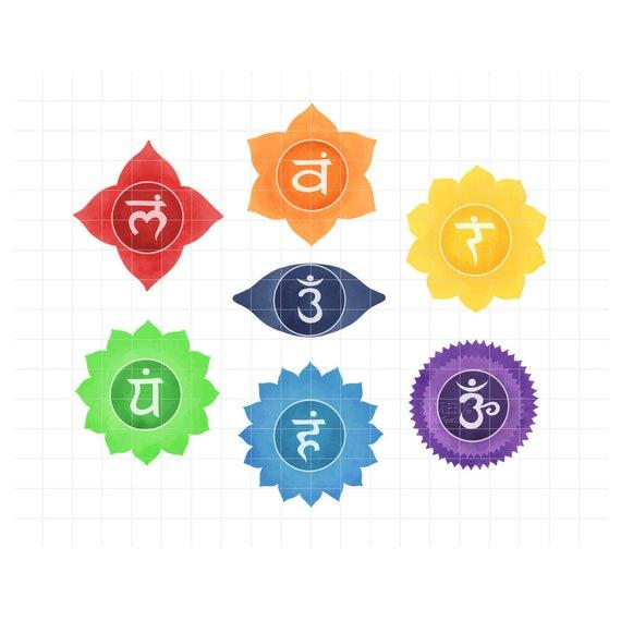 Chakra Symbols Clipart Meditation And Yoga Digital Planner Stickers Namaste Printable Png Graphics