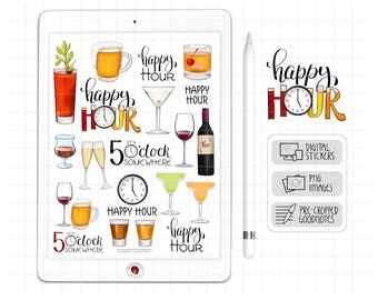 Happy Hour Digital Planner Stickers, GoodNotes Stickers, Alcohol Drinks, Beverages, Digital Bullet Journal Stickers, PNG Scrapbook Clipart