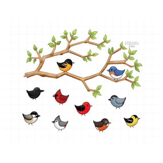 Tree Branch And Birds Clipart Cute Bird Doodles Digital Etsy