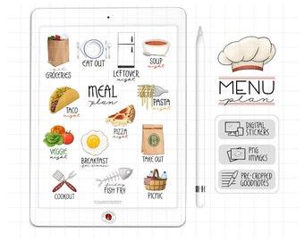 Menu Planning Digital Planner Stickers, GoodNotes Stickers, Meal Themes, Cooking Digital Bullet Journal Stickers, Food PNG Scrapbook Clipart