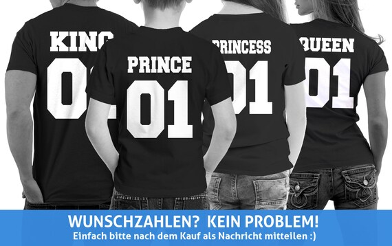 King Queen Prince Princess Shirts Partner T Shirts Kinder Shirts Pärchen Couple