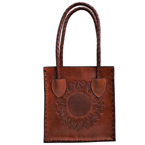 Sunflower Handtooled Leather Bag | Full Grain Leather | Mexican Purses Floral Tooled Design | Vintage Handmade Leather Made in Mexico