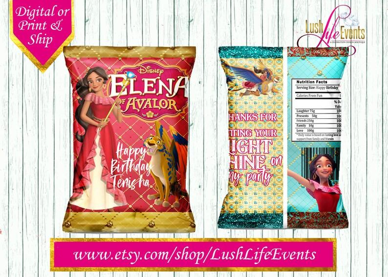 Elena Favors Elena of Avalor Chip Bags Elena Chip Bags Elena of Avalor Party Favors Elena Party Favor
