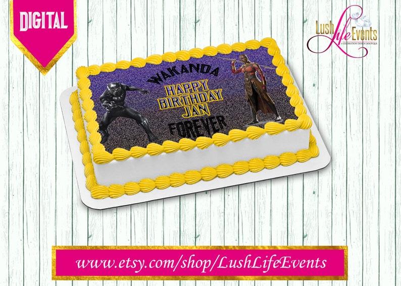 26638bbdb51 Black Panther Sheet Cake Edible Image Wakanda Cake Black