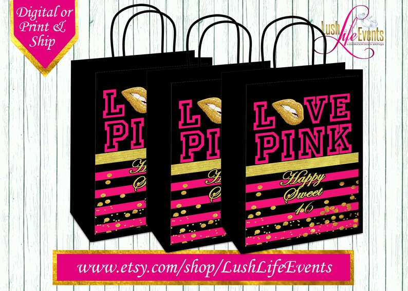 Victoria Secret Gift Bag Pink Sweet 16 Happy