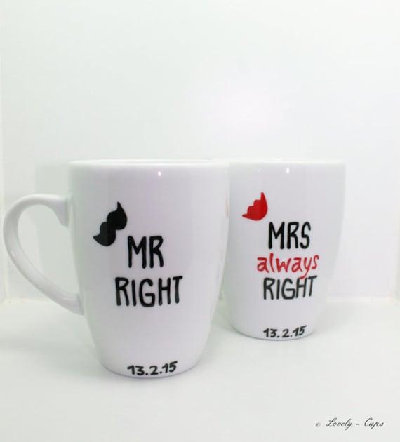 Hochzeitsgeschenk Tassen Mr Right Moustache Mrs Always Right Etsy