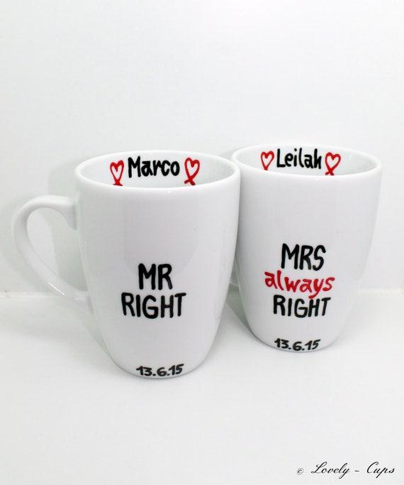 Mrs Always Right Mr Right Hochzeitsgeschenk Tassen Etsy
