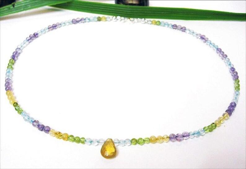 Multicolor Gemstone Necklace Necklace From Citrine Peridot Topas Amethyst