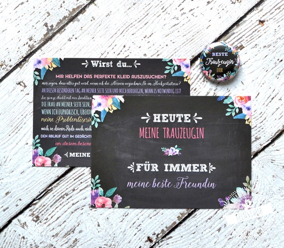 Trauzeugin Fragen Und Geschenk Für Den Hochzeitstag Kartenset Mit Button Fragen Bedanken Geschenk Für Die Beste Freundin