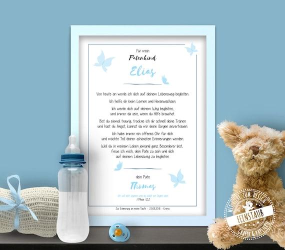 Patenbrief Taufbrief Als Geschenk Zur Taufe Für Patenkind Von Taufpate Zur Erinnerung Schmetterlinge Personalisierbar Papier Leinwand