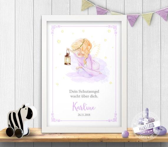 Schutzengel Zur Taufe Oder Geburt Print Geschenk Von Taufpate Taufpatin Taufgeschenk Engel Bild Spruch Kinderzimmer Personalisierbar
