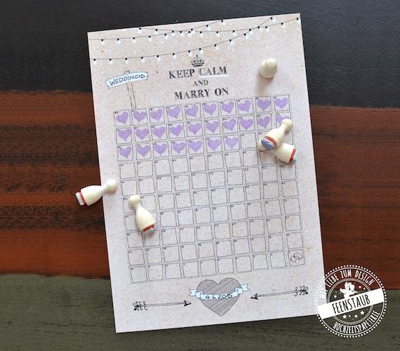 Hochzeits Countdown Noch 100 Tage Hochzeitskalender Fur Die Etsy