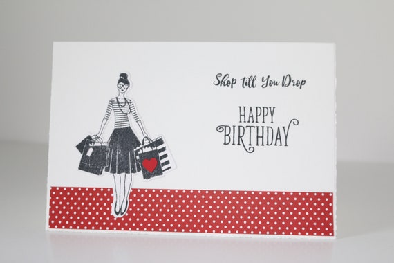 Karte Gluckwunschkarte Geburtstag Shopping Queen Etsy