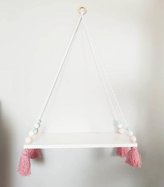 Pom Pom Schaukel Regal, Kinderzimmer Regal mit Perlen hängen und Quaste,  Schaukel Regal Holz Girlande mit Quaste, Kinderzimmer Regal