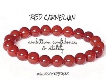 "Carnelian Crystal Chip Bracelet 7.5"" Motivation Sacral Chakra Confidence Courage"